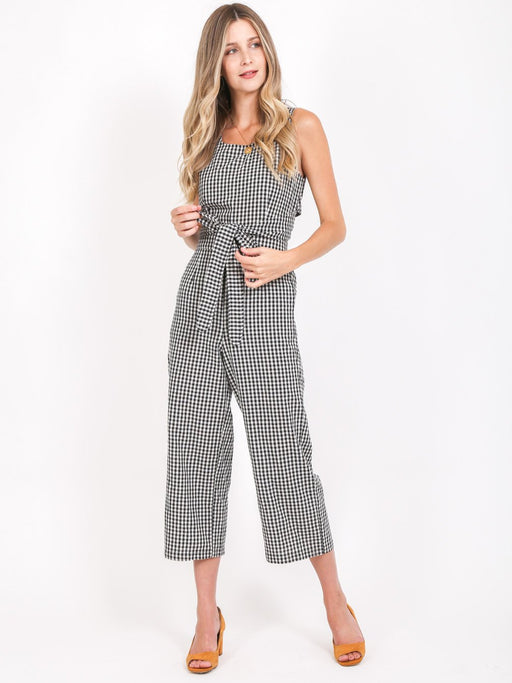 Kenzie Black & White Gingham Jumpsuit - Size S