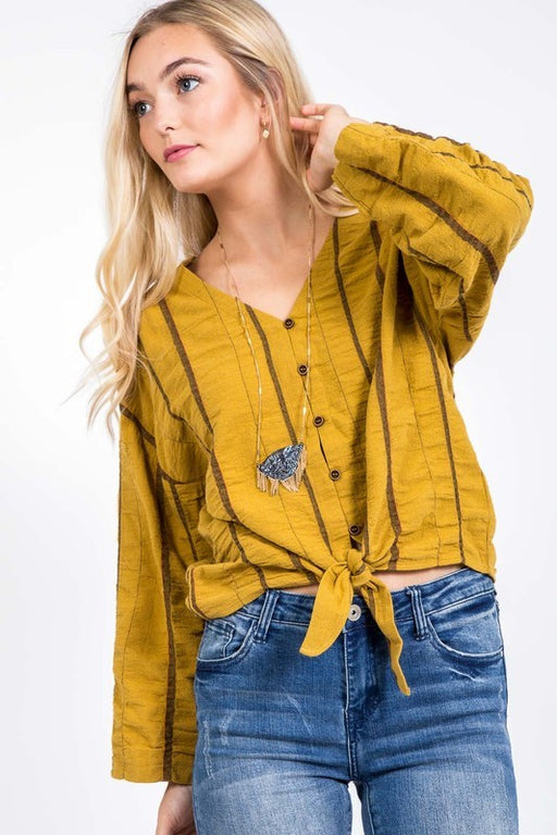 *PRE-ORDER* Love Me Do Striped Top - Mustard, CloudWalk - Gingerly Witty
