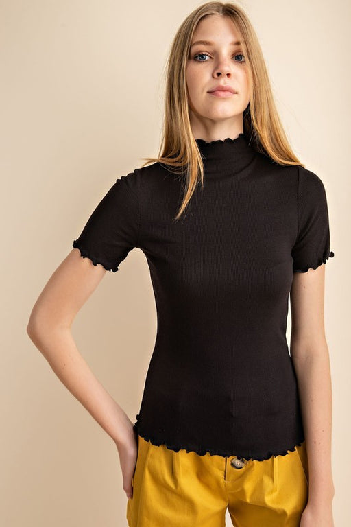 *PRE-ORDER* Short Sleeve Lettuce Trim Top - Black, CloudWalk - Gingerly Witty