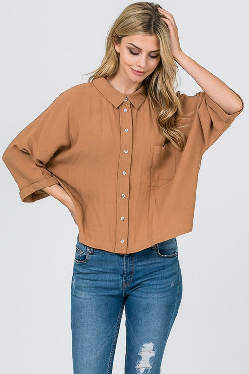 Amélie Woven Button-Down Blouse - Amber, CloudWalk - Gingerly Witty