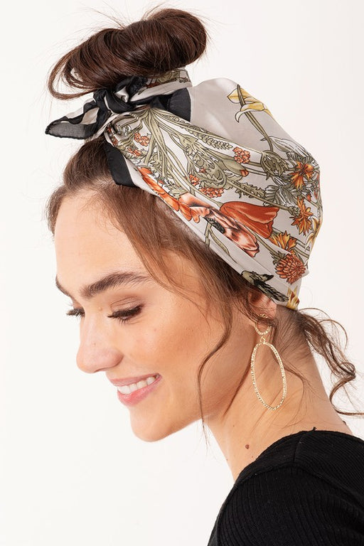 Hena Floral Print Scarf - Beige; Gingerly Witty
