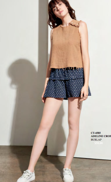 Adeline Frayed Crop Top - Burlap, Amadi - Gingerly Witty