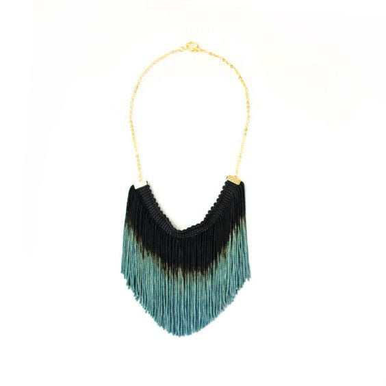 Black Ombre Fringe Statement Necklace, Reason to be Pretty - Gingerly Witty