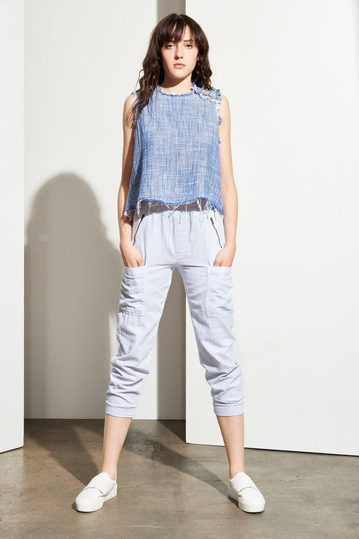 Adeline Frayed Crop Top - Indigo, Amadi - Gingerly Witty