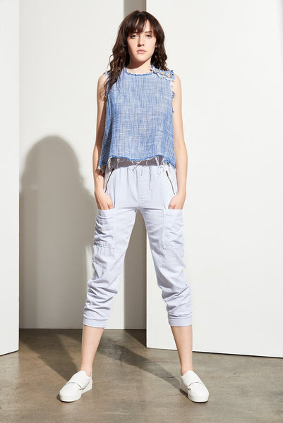 Adeline Frayed Crop Top - Indigo - Gingerly Witty