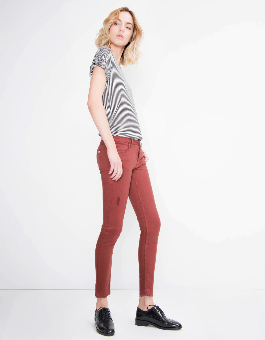 Colored Skinny Cropped Trousers Lily - Grenat Rose, Reiko - Gingerly Witty