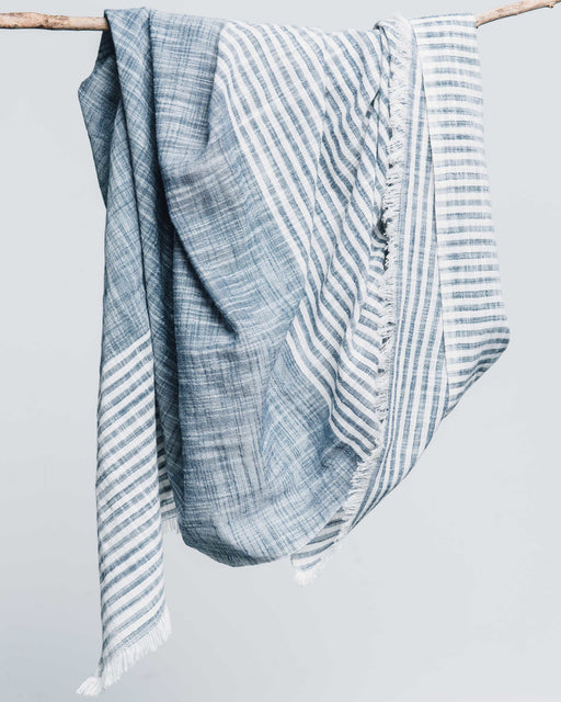 Malabar Blue Striped Cotton Scarf, Bloom & Give - Gingerly Witty