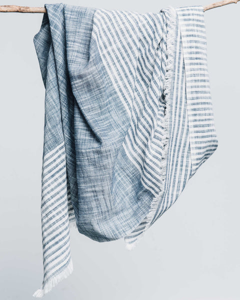 Malabar Blue Striped Cotton Scarf