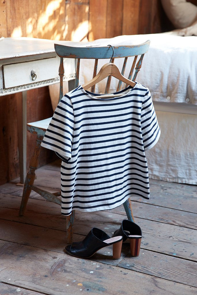 Ella Ivory & Navy Stripe Short Sleeve Top, Amour Vert - Gingerly Witty