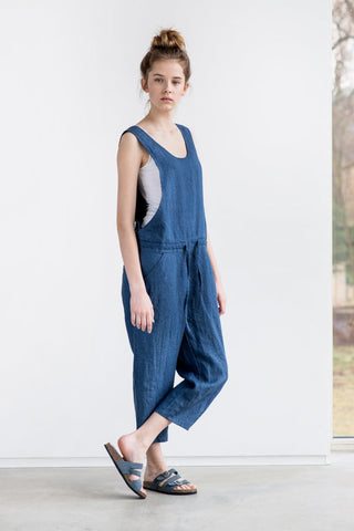 Denim chambray loose linen jumpsuit gingerly witty