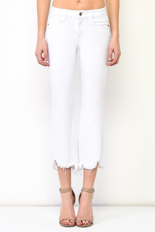 frayed hem, high waist fit, and cropped flare denim white jeans; Hidden Denim; Gingerly Witty