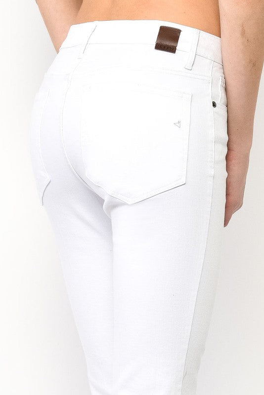High Waist Cropped Flare - White, Hidden Denim - Gingerly Witty