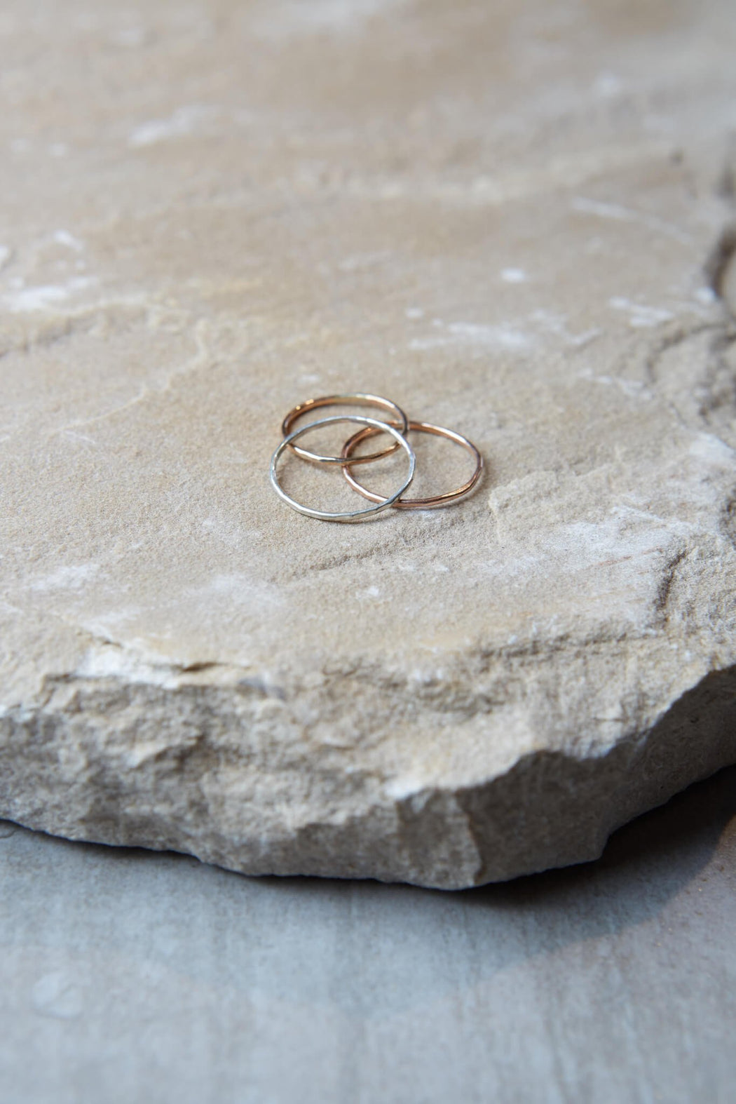 Hammered Stacking Ring - Thin Gold Silver Rose-Gold Gingerly Witty
