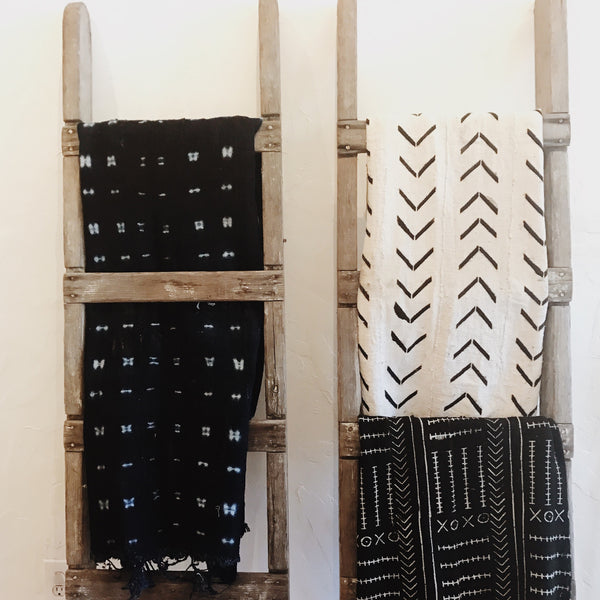 African Mudcloth Throw – Black with White Pattern - Gingerly Witty