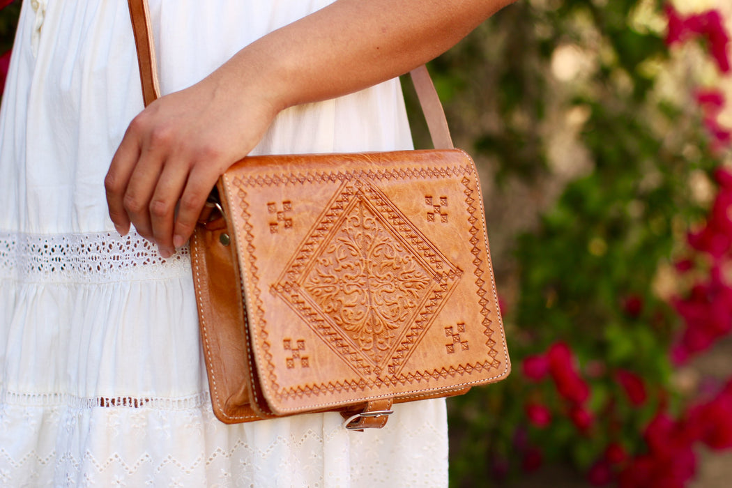 Casablanca Square Leather Purse - Light Leather, Beldi Co. - Gingerly Witty