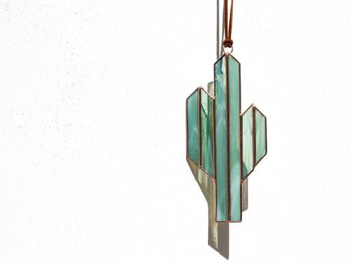 Minimalist Saguaro Cactus Sun Catcher; Brewer & Marr Glassworks; Gingerly Witty
