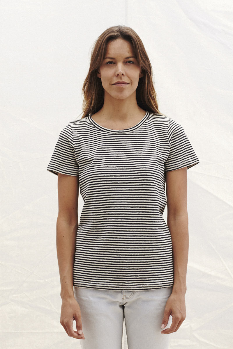 Yarn Dyed Stripe Short Sleeve Tee, JungMaven - Gingerly Witty