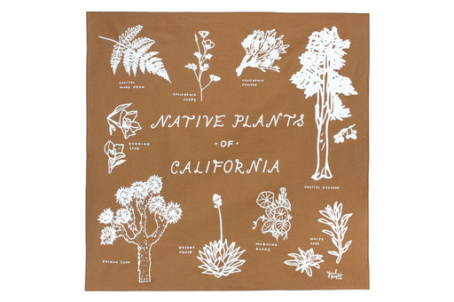 Native Plants of California Bandana - Golden Brown; Yeah Right Press; Gingerly Witty
