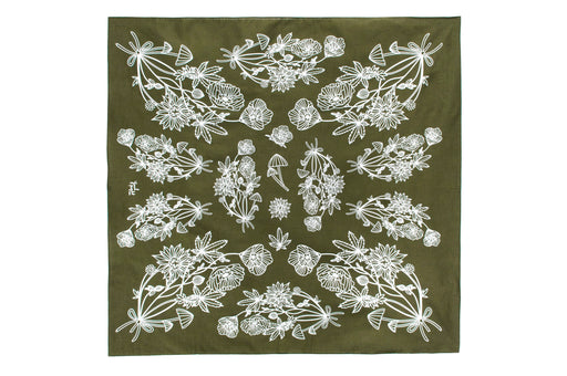 Psychoactive Plants Bandana - Olive; Yeah Right Press; Gingerly Witty