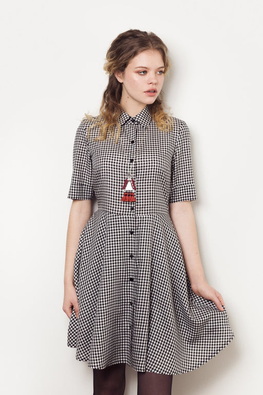 3/4 Modal Dress - Gingham Meemoza Gingerly Witty