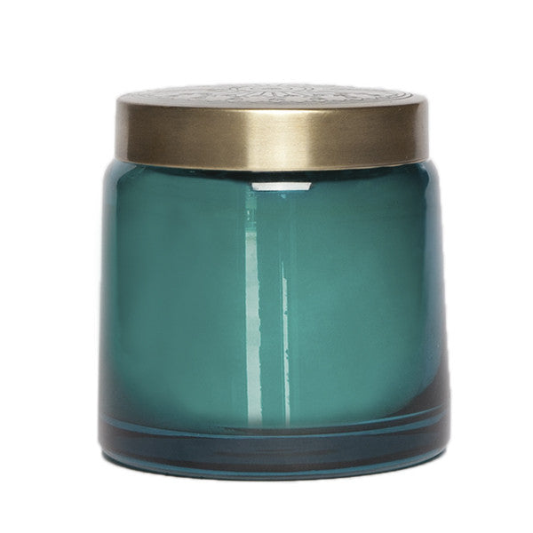 17 Oz Tinted Glass Jar – Teal – Sugared Citron, Aspen Bay Candles - Gingerly Witty