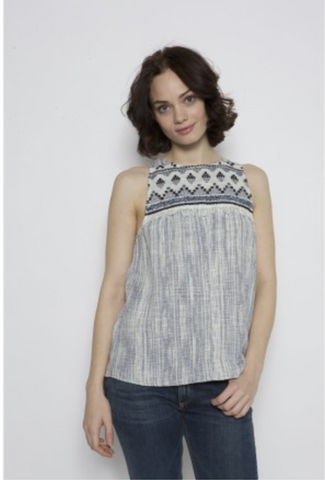 DREW  Andi Embroidered Frayed Top; embroidered tank top