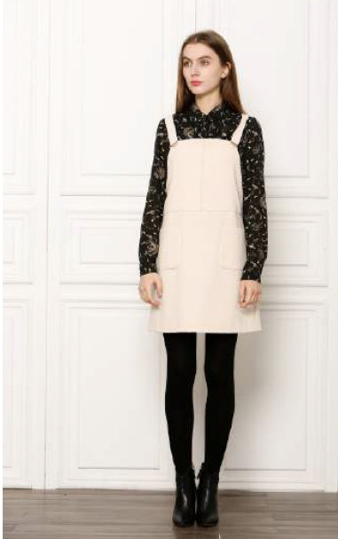 Autumn Babe Pinafore Dress - Beige, See U Soon - Gingerly Witty