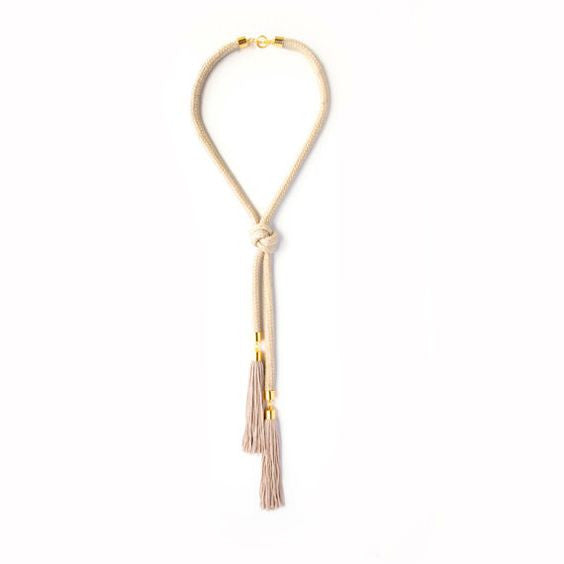 Stone Knot Double Tassel Necklace, Reason to be Pretty - Gingerly Witty