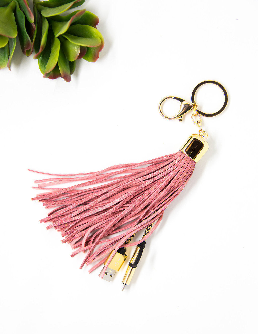 USB Leather Tassel Keychain + Charging Cord, Accessories by Jamie - Gingerly Witty