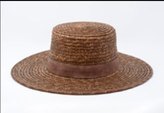 Wheat Straw Boater Hat - Whiskey-Brown Wyeth USA Gingerly Witty