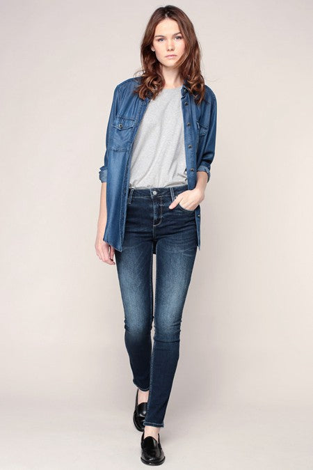 Arnel Skinny High Waist Jean - Denim Blue, Reiko - Gingerly Witty
