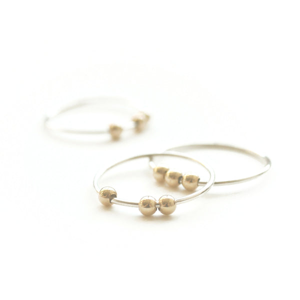 Abacus Bead Stacking Ring - mixed gold + silver - Gingerly Witty