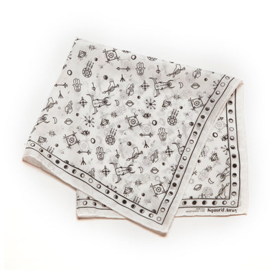 Gingerly Witty Amulet Silk Bandana White Squar'd Away