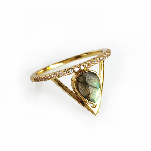 Pave Triangle Ring - Labradorite; Elizabeth Stone Jewelry; Gingerly Witty; geometric jewelry; stacking rings; gold ring with gemstone