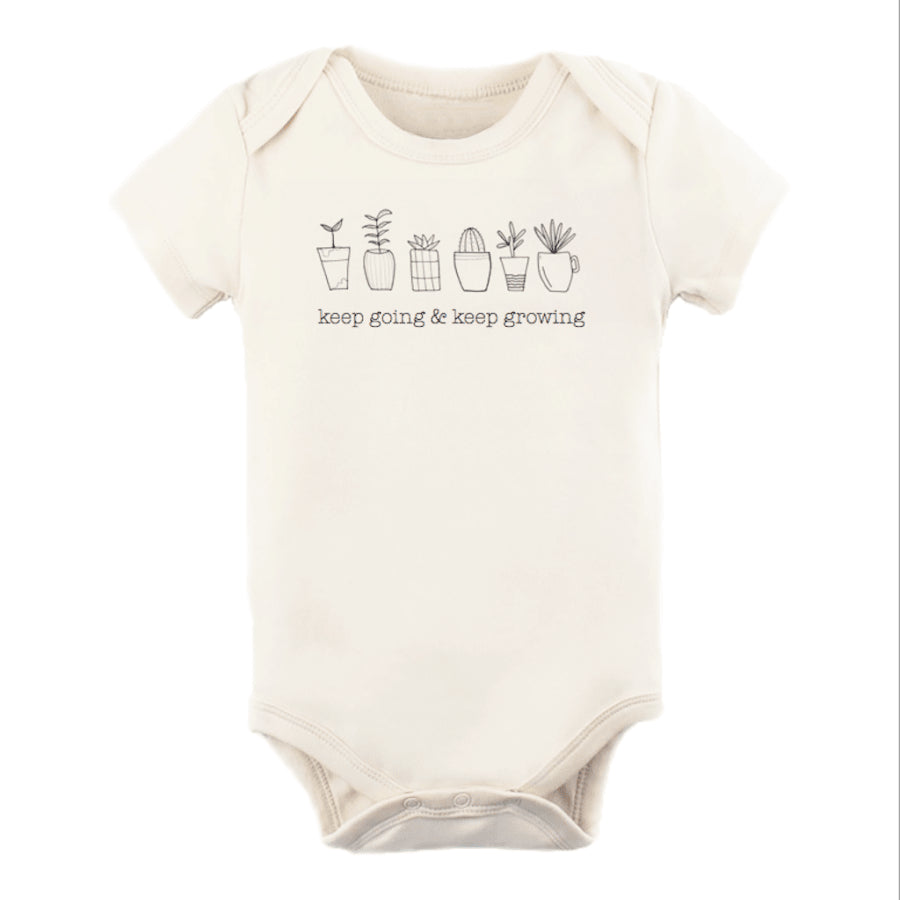 """Keep Going Keep Growing"" Short Sleeve Onesie - Cream, Tenth & Pine - Gingerly Witty"