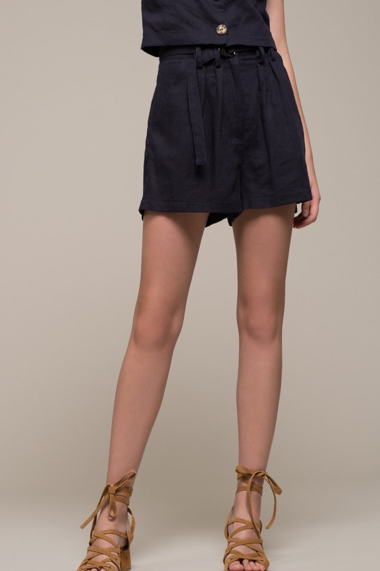 Belted high-waist Shorts - Navy; Moon River; Gingerly Witty