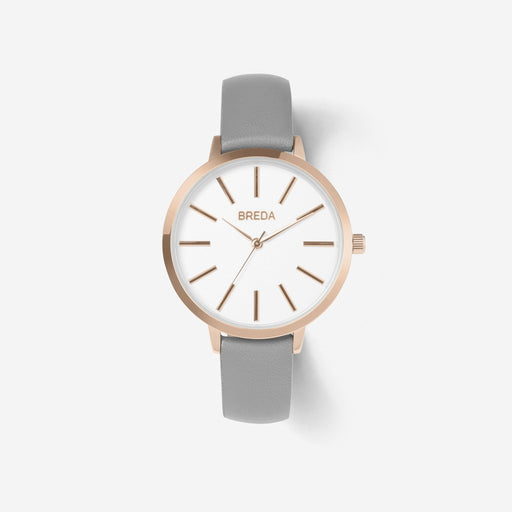 Joule Slim Leather Strap Watch - Rose Gold and Gray