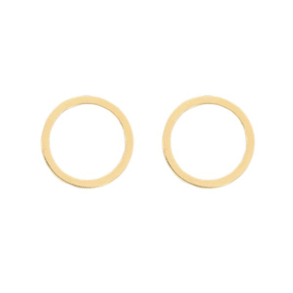 Cat Circle Stud Earring - 14k Gold Vermeil