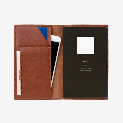 Medium Notebook Holder - Cognac, This Is Ground - Gingerly Witty