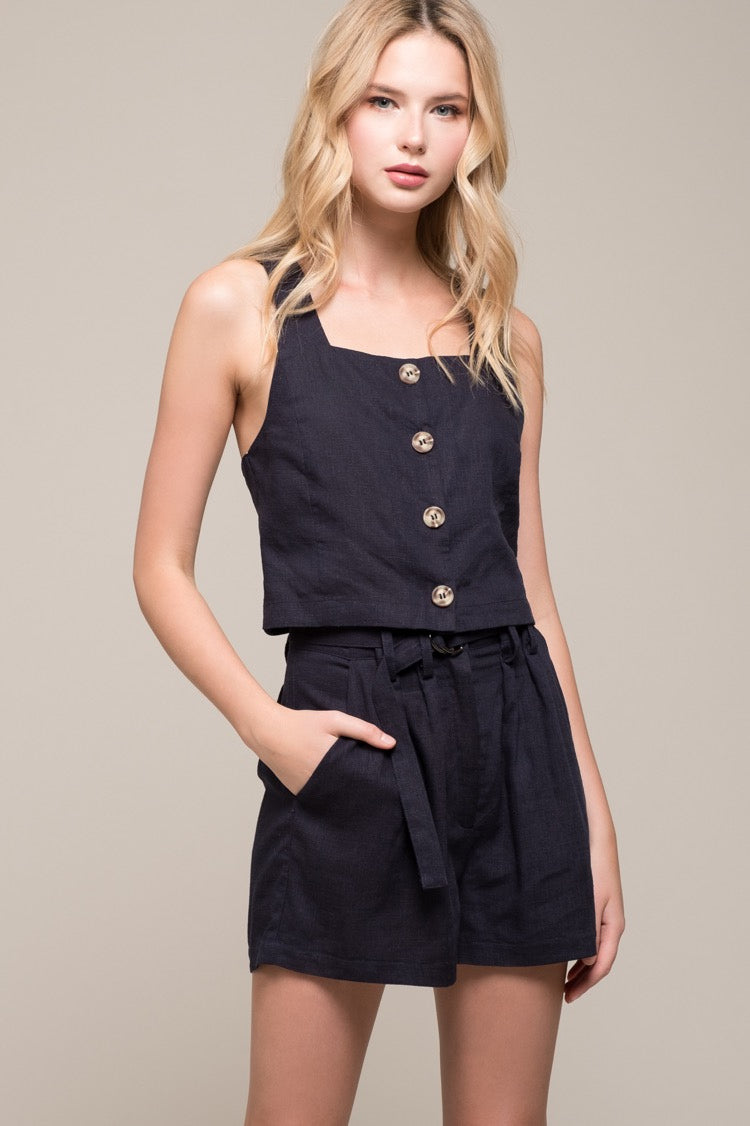 Belted High-Waisted Shorts - Navy, Moon River - Gingerly Witty