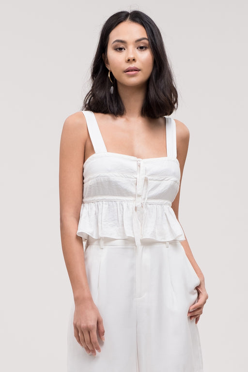 *PRE-ORDER* Home on the Range Ruffle Tie Top - Ivory, j.o.a. - Gingerly Witty
