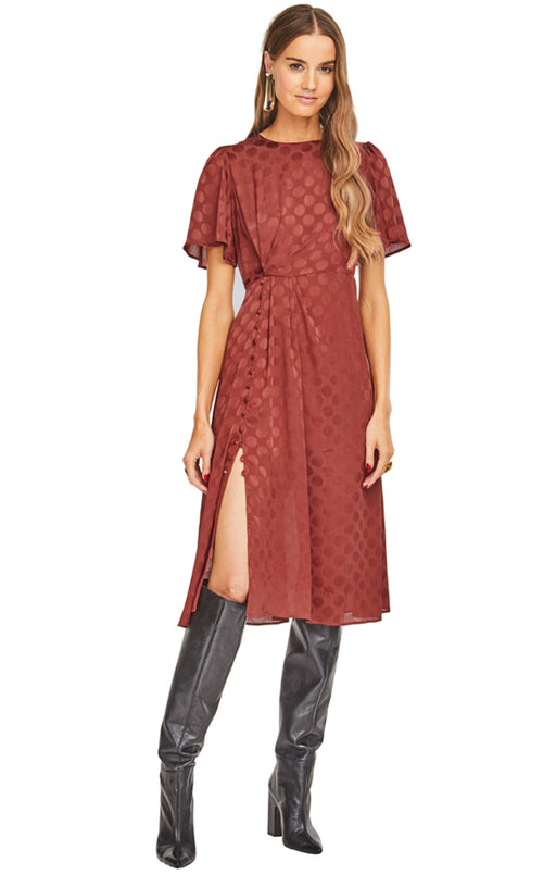 Ebony Polka Dot Midi Dress - Cinnamon, ASTR - Gingerly Witty