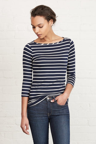 AMOUR VERT  Francoise Long-Sleeve Tee - Basque Navy Stripe; nautical clothing; striped shirt