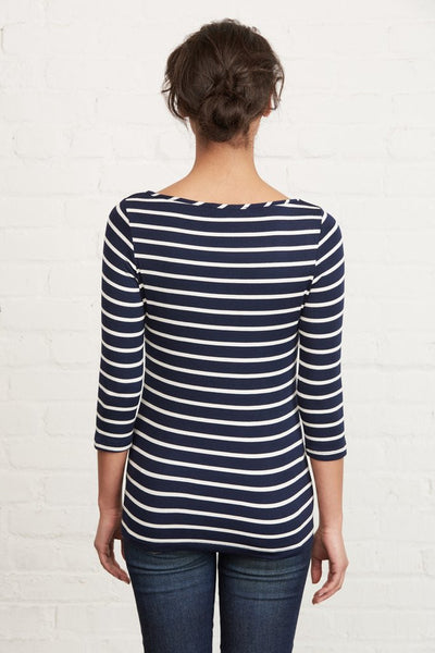 Francoise Long-Sleeve Tee - Basque Navy Stripe, Amour Vert - Gingerly Witty
