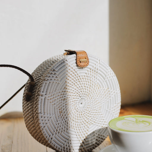 Round Rattan Woven Bag - White Wash; The Legra; Gingerly Witty; Bali