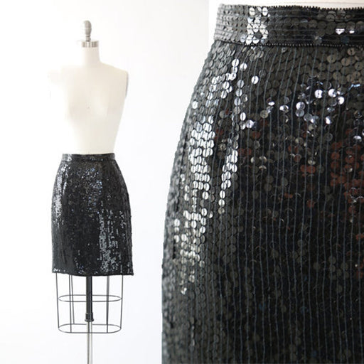 Vintage 90s Silk Black Sequin Skirt - Size M