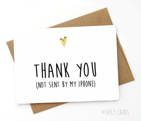 iPhone Thank You Card, Spicy Cards - Gingerly Witty