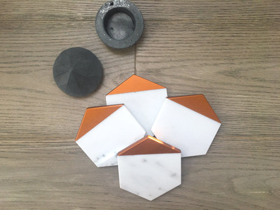 Hexagon Marble-Copper Coasters - Set of 4