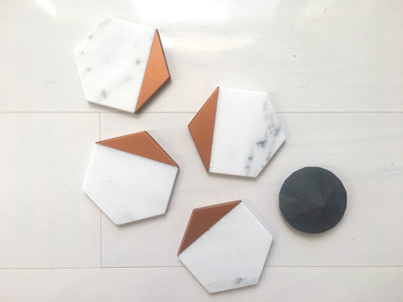Hexagon Marble-Copper Coasters - Set of 4, MeAConcrete - Gingerly Witty