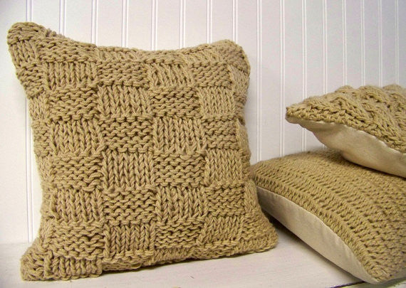 Basket Weave Style Knit Pillow in Cream - Gingerly Witty